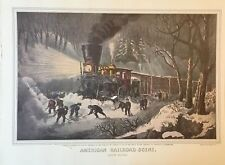 "Currier & Ives > "" SNOWBOUND AMERICAN RAILROAD SCENE < print of lithograph"