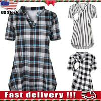 Pregnant Women Maternity Short Sleeve Plaid Nursing Top Blouse For Breastfeeding