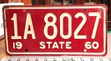 STATE - 1960 series Salesman Sample license plate - generic white on refl red