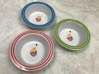 "POTTERY BARN KIDS PBK 6.5"" Bowls Set/3 Plastic Chicks Egg Pink Green Blue"