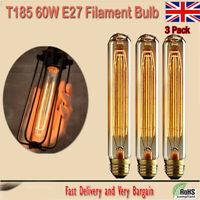 3 X T185 E27 60W Tall Edison Vintage Light Lamp Bulb Retro Filament Tube Bulb UK