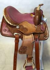 """14"""" Youth Show Saddle Barrel Brushed Tooled FQHB Pink Gator Seat & Accents New!"""