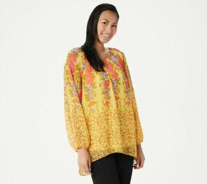 Susan Graver Printd Crinkle Chiffon Peasant Tunic w/Knit Tank-Yellow-Med-A351016
