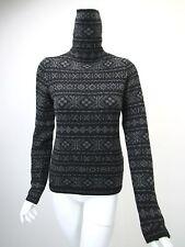 RALPH LAUREN PURPLE LABEL Black Charcoal Fair Isle Chunky Cashmere Sweater sz M