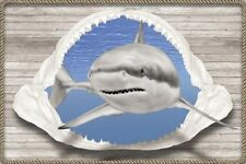 """GREAT WHITE SHARK WALLPAPER MURAL, SHARKS, 48"""" Tall x 72"""" wide, PRE-PASTED."""