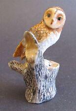 Miniature Ceramic Barn Owl on Tree Stump Figurine- Sitting