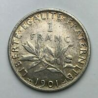 Dated : 1901 - Silver Coin - France - 1 Franc - One Franc Coin