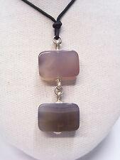 Ciondolo con AGATE GRIGIE naturali e ARGENTO 925 - pendente pietra dura -