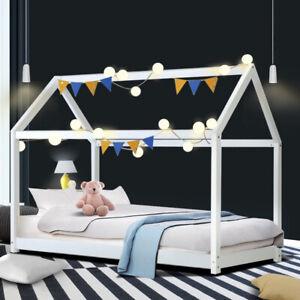 Artiss Wooden Bed Frame Single Size Mattress Base Pine Timber Platform White