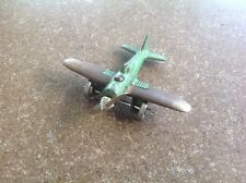 Authentic Vintage Cast Iron Hubley USA 2227 Fighter Toy Airplane Green / Silver