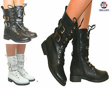 Zip Flat (less than 0.5') Block Combat Boots for Women