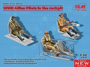 ICM 32112 WWII Allies Pilots In Cockpits (3 Figures) Plastic Model Kit 1/32