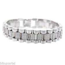"Hip Hop Bracelet Sand Blast Silver Tone 8.5"" Men Watch Band Style 17 MM Links"