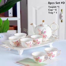 Euro Style Fine Chinaware Porcelain Elegant 8pc Coffee Tea Pot Cup Tray Set #D