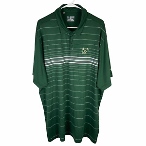 USF Under Armour Polo Shirt 3XL Green White Striped South Florida Loose Stretch