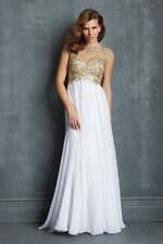 Amazing A-Line Beaded Open-Back Floor-Length Prom Dress - Size 16 - Box64 55 G