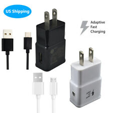 US Plug Wall AC Charger Adapter Micro USB Type C Fast Charging Cable For Android