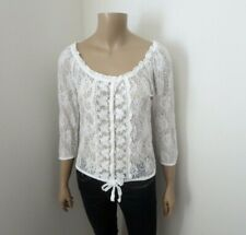 Hollister Womens Lace 3/4 Sleeve Top Size Small White Shirt
