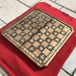 19th C Antique Chinese Export Lacquer Chess Backgammon Game Box Folding Art WOW