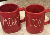 Rae Dunn Christmas Mug Merry & Joy Red Mugs Holiday White Letters Lot of 2