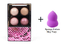 Hard Candy Mod Quad Baked Eye Shadow 718 Pink Interlude + Makeup Sponge