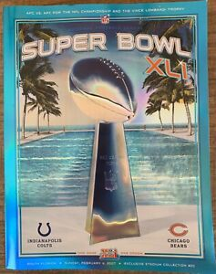 SUPER BOWL 41 HOLOGRAPHIC PROGRAM XLI CHICAGO BEARS INDIANOPOLIS COLTS CHAMPIONS