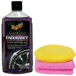 Meguiars Endurance Tyre Gel Instantl Black High Gloss Shine Dressing + Pad Cloth
