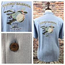 Tommy Bahama blue embroidered shot in the dark Silk golf Button Shirt Mens Small
