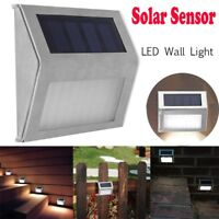 LED Solar Power Light Sensor Wall Light Garden Step Stair Deck Lights Lamp Decor