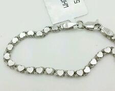 """14k Solid White Gold Heart Link Bracelet Chain 5.5"""" 2.9mm Baby Girl Child"""