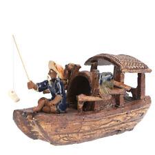 1pc Ornament Ceramic 4 Inches Creative Ornament Decor Fishing Boat for Fish Tank
