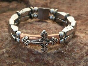 Silver Magnetic Hematite Bracelet Anklet Copper Bar w Silver cross Slider 2 row