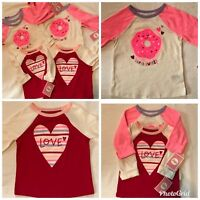 NEW Girls Valentine's Red Pink Purple Sparkly Baseball-Style Long Sleeve T-shirt