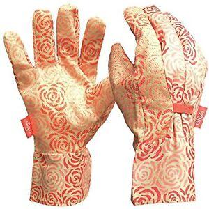 DIGZ Cotton Canvas Garden Gloves with Mini Dots, Single Pair Rose Pattern MEDIUM
