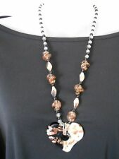 Black, White and Gold Lamp Work Glass Necklace with Heart Pendant