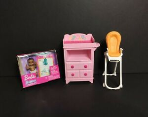 Barbie Happy Family Lot Pink Baby Changing Table Dresser For Nursery + More