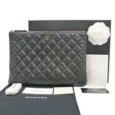 Authentic CHANEL CC Caviar Skin Quilted Bag Clutch Black #S203061