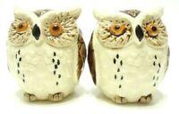 VINTAGE 1980s OWL SALT PEPPER SHAKER SET CERAMIC HAND PAINTED MADE IN JAPAN