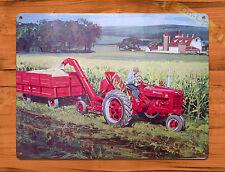 "TIN SIGN ""Farmall Tractor""  Farm Rustic Wall Equipment Advertisement Decor"