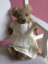 Antique Teddy Bear Wood Wool Filled Jointed Playworn