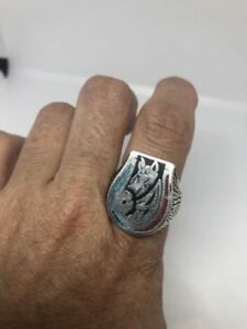 1980's Vintage Silver Size 9.5 Lucky Horse Shoe Genuine Turquoise Men's Ring