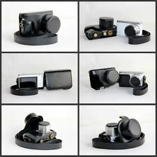 black Leather Camera case bag Grip strap for Samsung NX Mini with 9-27mm NEW