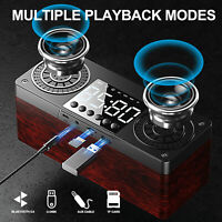 Bluetooth Wireless Loud Speaker Outdoor Stereo Bass USB/TF/Aux FM Radio Clock US