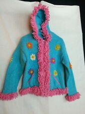 Youth Girl Sweater Coat Long Hood Turquoise Blue Pink Floral Ecuador Junior