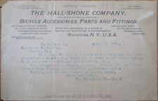 Bicycle 1899 Letterhead: Hall-Shone Co. Cycle Accessories & Parts- Rochester, NY