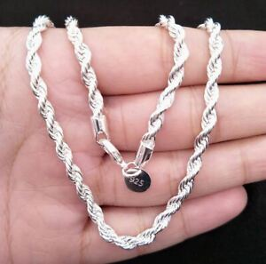 """3mm Silver Twisted Rope Chain Necklace Bracelet Fashion 16""""/18""""/20""""/26""""/30"""" UK"""