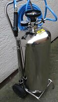 Schaumgerät 50 Liter  Edelstahl  fahrbar für Druckluftbetrieb Mit Pistole +Lanze