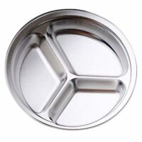 Stainless Steel 3 Sections Round Divided Dish Snack Dinner Plate Diameter 24C EL