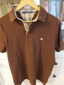 Burberry Mens Cotton Polo Shirt Size XXL Brown USED pit-to-pit 21inch LOGOS