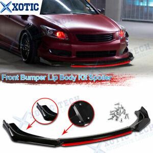 Front Bumper Lip Splitter Spoiler Kit Black w/ Red For 2008 09 2010 Honda Accord